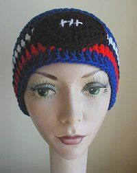 Patterns for hats for many sports. Site shows a good crocheted football appliqué.