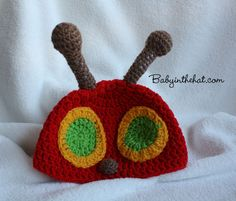 Children's Very Red Caterpillar Crochet Hat Photo by Babyinthehat