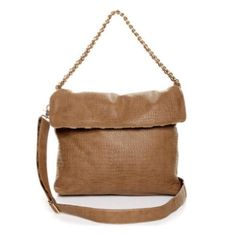 """Taupe Chain Handbag Brand New  By Street Level   Carry from a 20"""" gold chain tote handle or clip on adjustable shoulder strap for a full day tour! Bag measures 15"""" wide, 13"""" tall and 2"""" deep. Street Level Bags"""
