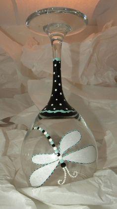 Dragonfly Blue Wine Glass by GranArt on Etsy, $18.00