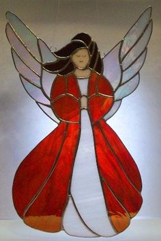 Angel in Red Stained Glass Panel