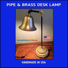 Industrial Pipe Desk Lamp - Brass Painted accents with Oil Rubbed Bronze paint - heavy metal base - positionable moveable - Accent Lamp. $89.99.