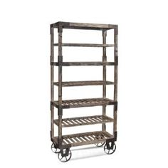 """Check out the Bassett Mirror A2045EC Steam Punk """"Foundry"""" Rack in Weathered Gray Homeclick.com."""