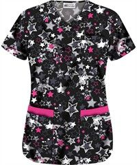 UA Star Struck Black 5-Pocket Print Scrub Top L