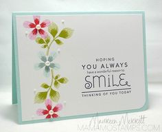 handmade card ... column of flowers and leaves dotted with pearls ... delightful sentiment block with mixed fonts ... sweet card!! ... Mama Mo Stamps