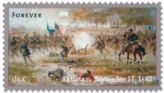 U.S. #4665 – Taken from an 1887 painting by Thure de Thulstrup, this painting shows the Iron Brigade charging near Dunker Church early in the battle.