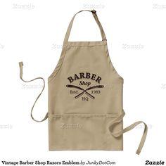 Vintage Barber Shop Razors Emblem Adult Apron @zazzle April 5 2016