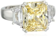 Charles Winston, S Silver, www.teelieturner.com Cubic Zirconia Ring with 10mm Yellow Charles Winston Scintillant Cut(TM) 4.00 ct. Center, 7.50 ct. tw., Size 6 $99.00 #sparkle
