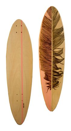 Feather Longboard  mini Pintail by Cheyenneillustration on Etsy, €130.00