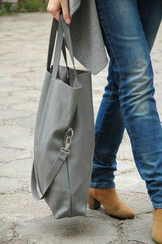 Oversized Gray Leather Tote Bag, Foldover Bag, Large Shoulder Bag http://www.etsy.com/listing/151272138/sale-oversized-gray-leather-tote-bag?ref=shop_home_active