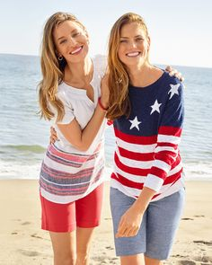 Stars & stripes. | Talbots Summer Outfits Wide Leg Linen Pants, Striped Linen, Summer Collection, Talbots, Blouses For Women, Summer Outfits, Summer Clothing, Women's Clothing