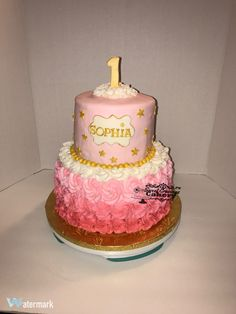 Pink Ombre Rosette first birthday cake