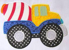 Construction Truck 02 Machine Applique Embroidery by KCDezigns Applique Templates, Applique Embroidery Designs, Machine Embroidery Applique, Applique Patterns, Vintage Embroidery, Applique Quilts, Quilt Patterns, Applique Monogram, Boy Quilts