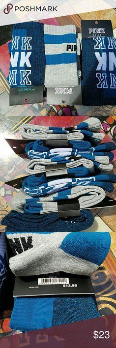 2 pair NWT Victoria's Secret knee high socks Teal This is a lot of two pair of Victoria's Secret knee high socks. Colors are dark teal and gray. These knee highs are footed socks, not tube socks. Victoria's Secret Accessories Hosiery & Socks