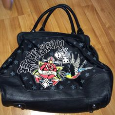 ED HARDY PURSE Ripped on the inside a little but come on that the inside  Ed Hardy Bags Shoulder Bags