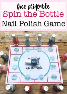 If you are planning a sleepover party for your daughter, and are looking for some fun party games to play- this Spin the Bottle Nail Polish Game is tons of fun! I'll show you how to set up the game, and you can download the game board for free at the bottom of this post!  #NailPolishGame #SpinTheBottleGame #SpinTheBottleNailPolish #PartyGames #Sleepover Easy Kids Party Games, Sleepover Party Games, Home Party Games, Fun Sleepover Ideas, Sleepover Birthday Parties, Sleepover Activities, Birthday Activities, Home Parties, Games For Sleepovers