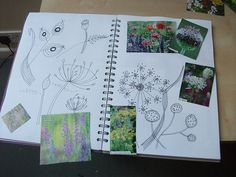 sketchbook pages based on an Angie Lewin card