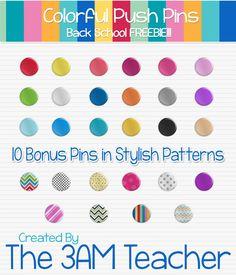 FREE Push Pin (thumb tacks) graphics by The 3AM Teacher!!