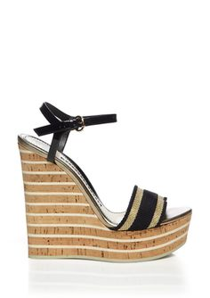 GUCCI Black Striped Wedge Sandal