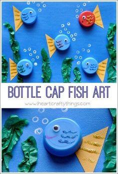 Bottle cap fish art sea creature crafts for kids preschool, preschool animal crafts, art Sea Animal Crafts, Animal Crafts For Kids, Toddler Crafts, Art For Kids, Fish Crafts Kids, Beach Crafts For Kids, Kids Fathers Day Crafts, Under The Sea Crafts, Dinosaur Crafts