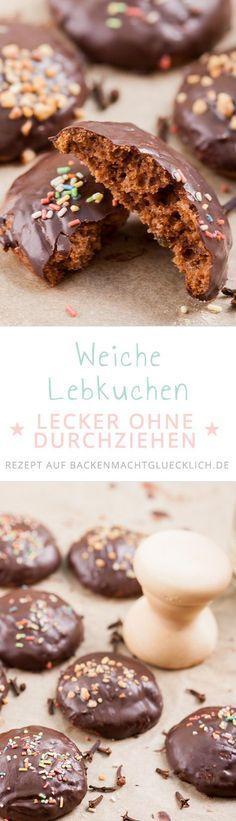 Mit diesem einfachen Lebkuchenrezept kann man im Nu wunderbar aromatische und weiche Lebkuchen backen, die nicht erst durchziehen müssen. Genuss ab sofort! | www.backenmachtgluecklich.de