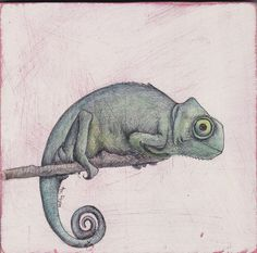 Super cute chameleon :) cant wait to get it. https://www.etsy.com/listing/181440767/hand-drawn-illustration-of-a-chameleon