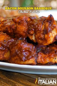 Bacon Bourbon Barbeque Chicken Kabobs Recipe--Ohhhh my gosh I'm soo going to make this!!