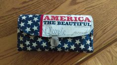 USA Wallet, Red, White, Blue, Clutch, Credit card holder zip compartment by MyCreativeBranch on Etsy