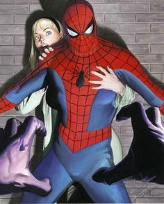 Spider-Man and Hwen Stacy by Alex Ross #gwenstacy #spiderman