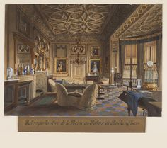 The Queen's Sitting Room at Buckingham Palace (Detail) James Roberts (English, ca. 1800–1867) England, August 1848 Brush and watercolor, gouache, gum arabic, graphite on white wove paper