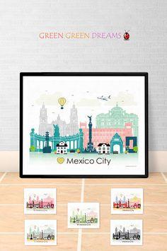 Mexico City poster print Wall art Mexico skyline Central America City poster Printable download Home Decor Digital Print GreenGreenDreams