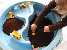 Pretend Play Construction With Coffee Grounds