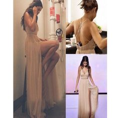 Long Spaghetti With Straps Open Back With Slit Sexy Simple Prom Dresses. RG0092