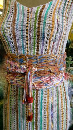 Handknit Wrap Around Belt with Beads on Fringe Wear as by taffnie
