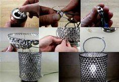 pantalla de lampara con ganchos de latas1