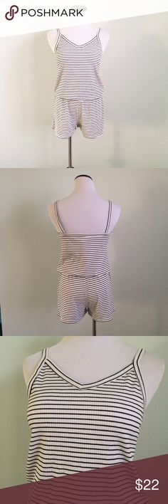 Black and white striped Tank Top Romper Gently worn. Black and white ribbed striped Romper. Emerald Shorts