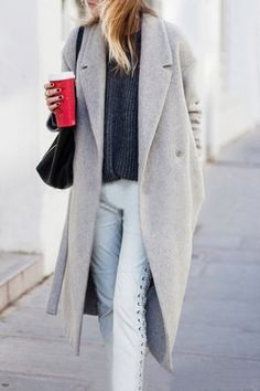 Trendy Solid Color Extra Long Straight Lapel Wool Coat For Women