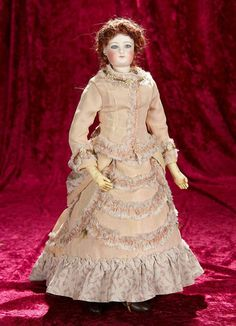 """17"""" Beautiful French bisque swivel head poupee with lovely pale eyes 1200/1700"""