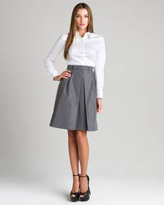 Prada Grey Silk Skirt