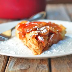 Baked Apple Pancake with Apple Cider Syrup - Pinch of Yum