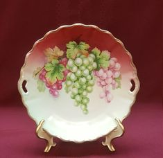 P.T. BAVARIA Hand-Painted Porcelain Handled Plate, Tirschenreuth Bavarian Plate, Pink Green Grapes Tray, Numbered Logo, Home Wall Wine Decor