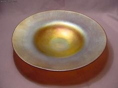 Beautiful Antique Signed Tiffany Favrile Gold Iridescent Art Glass Bowl   eBay