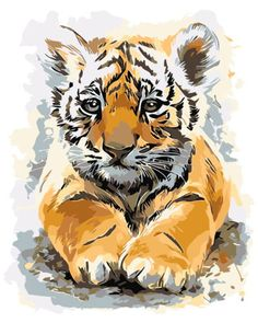 Cute Leisure Tiger Lying HP Design Needlepoint Canvas E Tiger Artwork, Tiger Painting, Tiger Drawing, Big Cats Art, Cat Art, Art Drawings Sketches, Animal Drawings, Heavy Metal Art, Lion King Art
