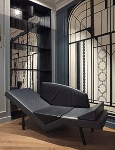 After 3 years of work, Hotel Bachaumont, a **** Hotel has finaly opened its doors! Located in the Montorgueil area, this 1900 building offers Banks Building, Wood Molding, Wooden Flooring, Parisian Style, Couch, Doors, Chair, Interior, Sofa