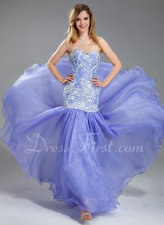 Trumpet/Mermaid Sweetheart Floor-Length Organza Charmeuse Lace Prom Dress With Beading Sequins (018019004) - DressFirst