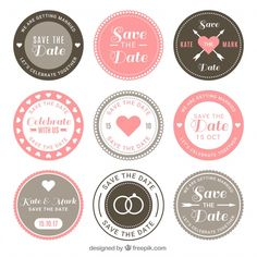Wedding badges with retro style Free Vector