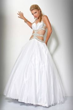 Attractive Ball Gown Straps Floor-length Organza White Prom Dresses