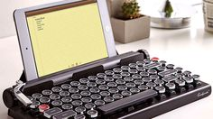 Inspired by the vintage typewriter while enjoying modern technology, this Qwerkywriter Wireless Typewriter Keyboard will give you just that.
