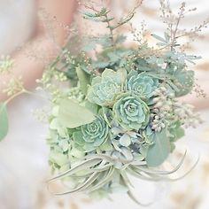 mint succulents boquet | Succulents bouquet, mint wedding flowers