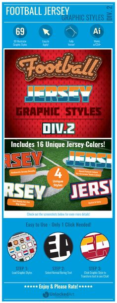 Football Jersey Div 2 Graphic Styles — Vector EPS #text styles #goal post • Available here → https://graphicriver.net/item/football-jersey-div-2-graphic-styles/5543633?ref=pxcr